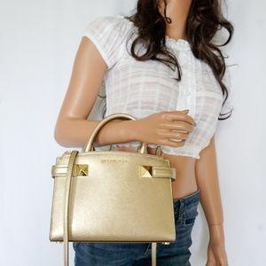 Michael Kors Karla SM Satchel Shoulder Bag Gold